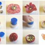 100 Covered Buttons FLAT BACKS - 1 ..