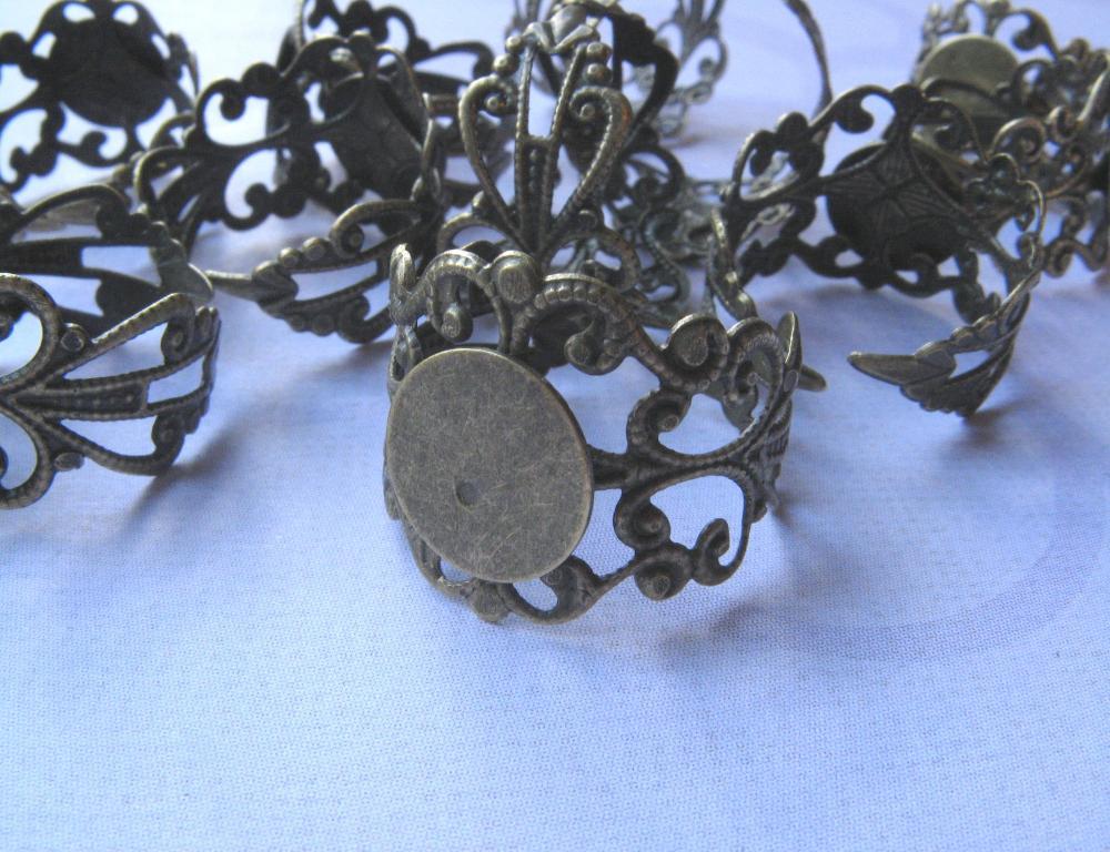 Sale-10 Adjustable Antique Ring Blanks - 10mm pad - Antique Bronze